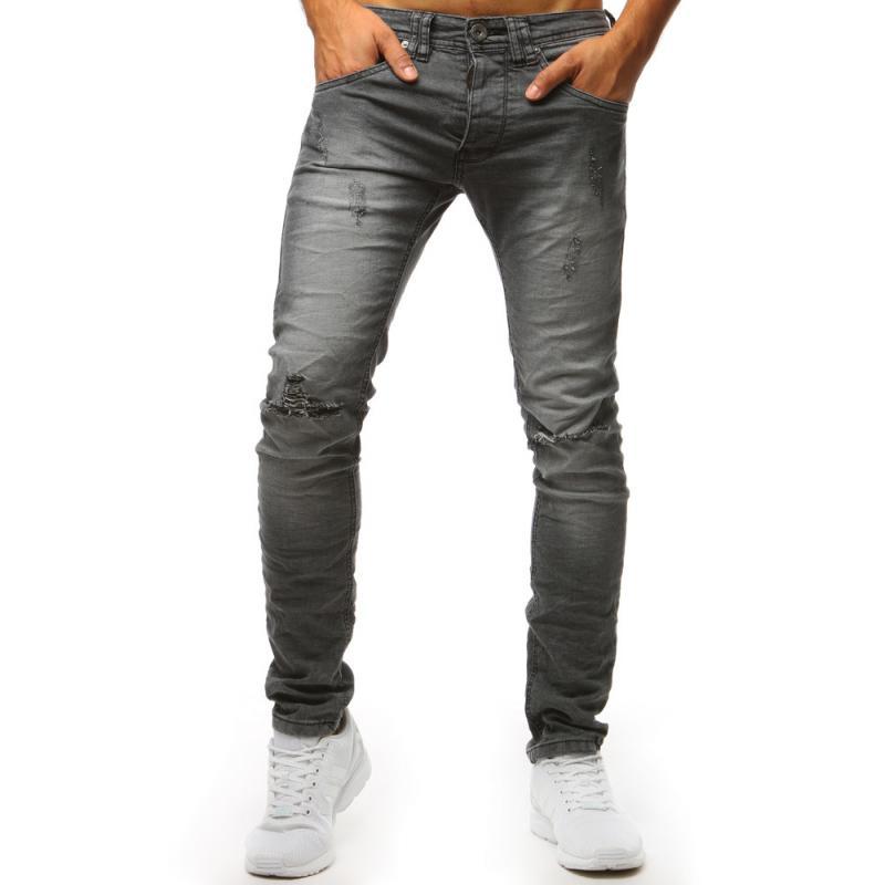 Pánské STYLE jeansy šedé  21580d5b71