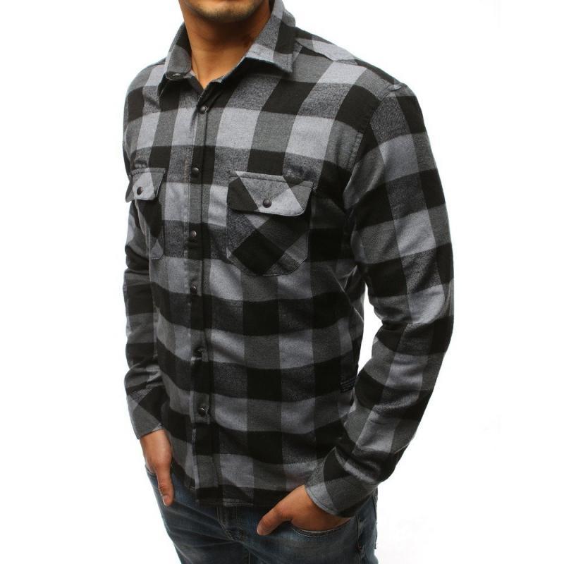 299ab9d474c Pánská STYLE košile kostkovaná šedá-černá