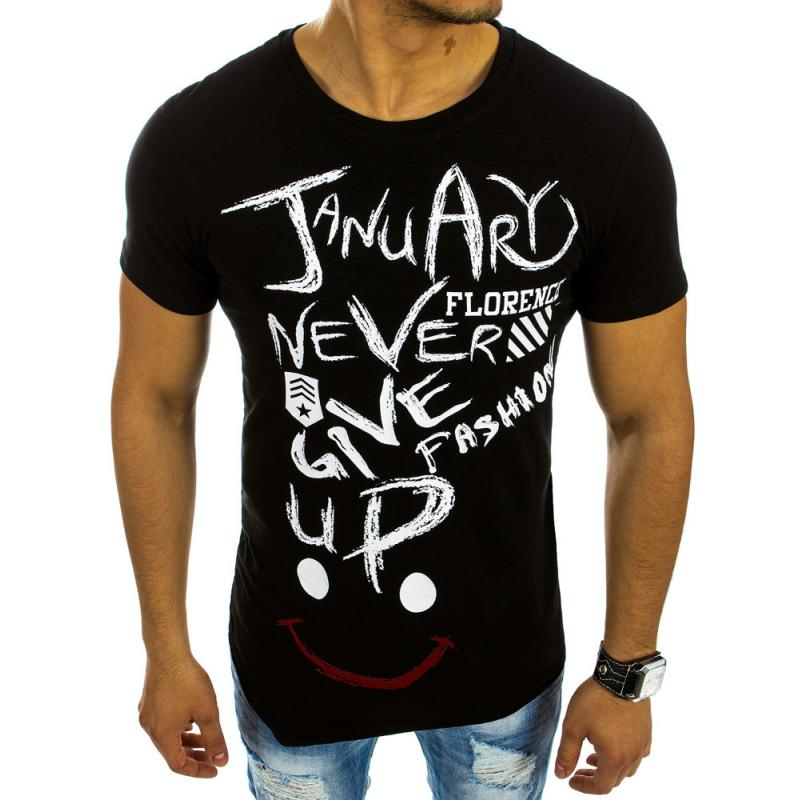 Pánská stylové tričko asymetrický vzor s potiskem černé  b06a1cf1d8