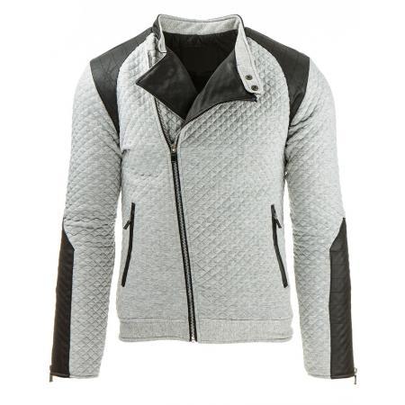 Pánská prošívaná přechodová bunda šedá