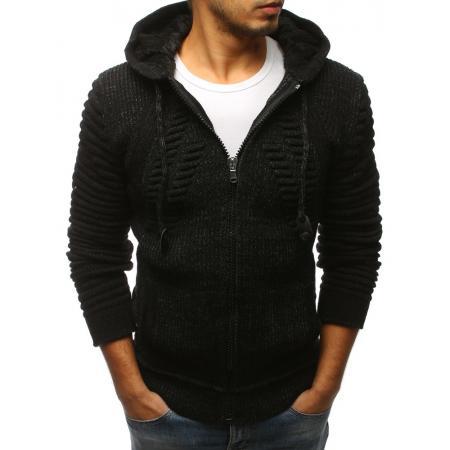 Pánský svetr rozepínací s kapucí černý STYLE 7dcd05f634
