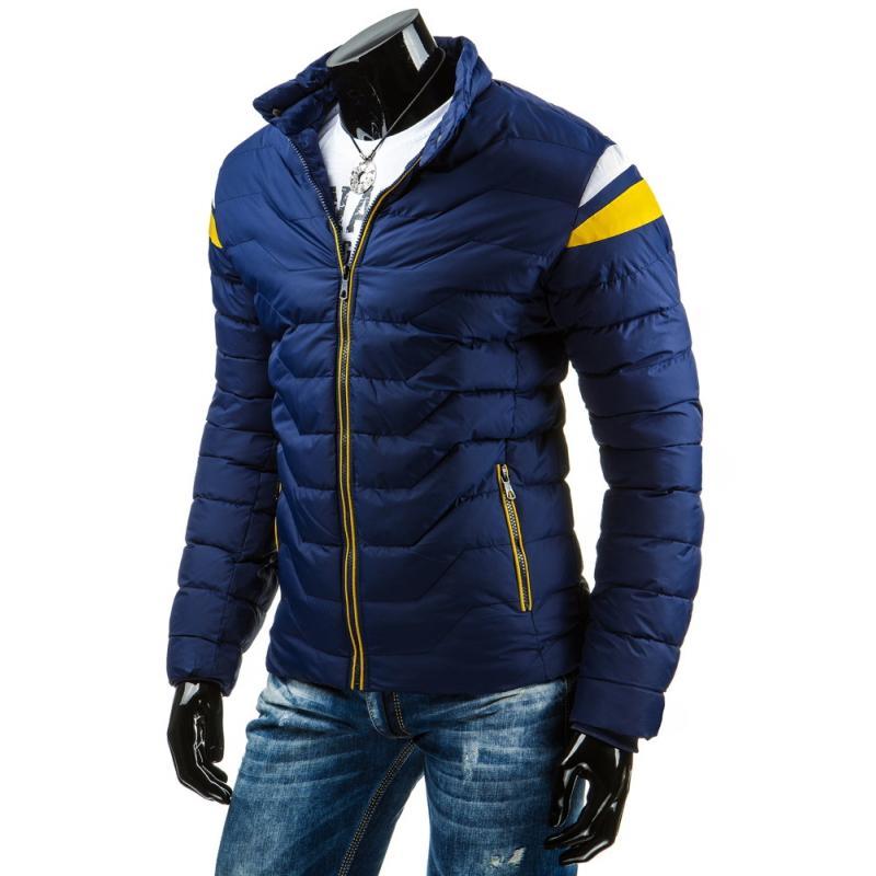 c4442745ab5 Pánská moderní zimní prošívaná bunda modrá