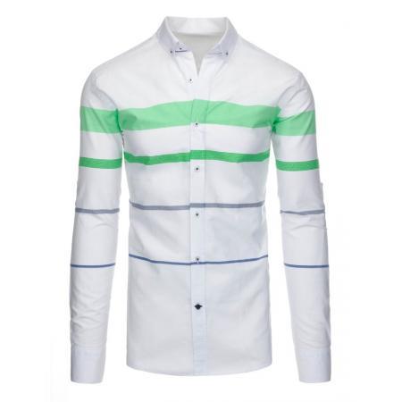 Bílá pánská košile pruhované slim fit