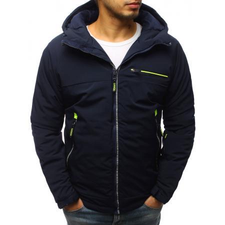 Pánská zimní bunda lyžařská s kapucí tmavě modrá