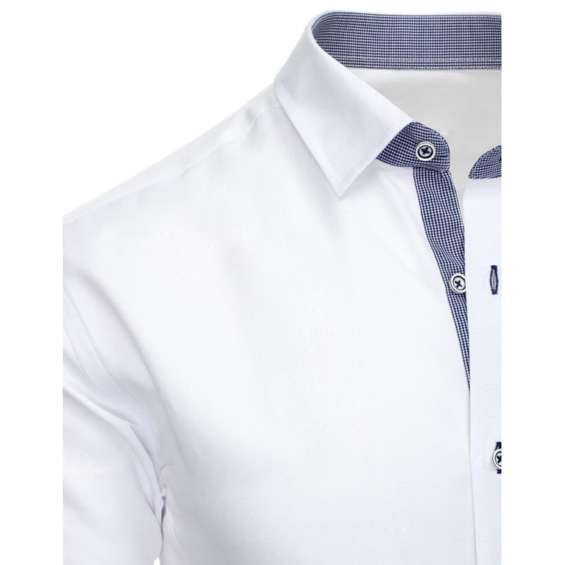 Bílá pánská košile s dlouhým rukávem slim fit  ee6bb78d0f