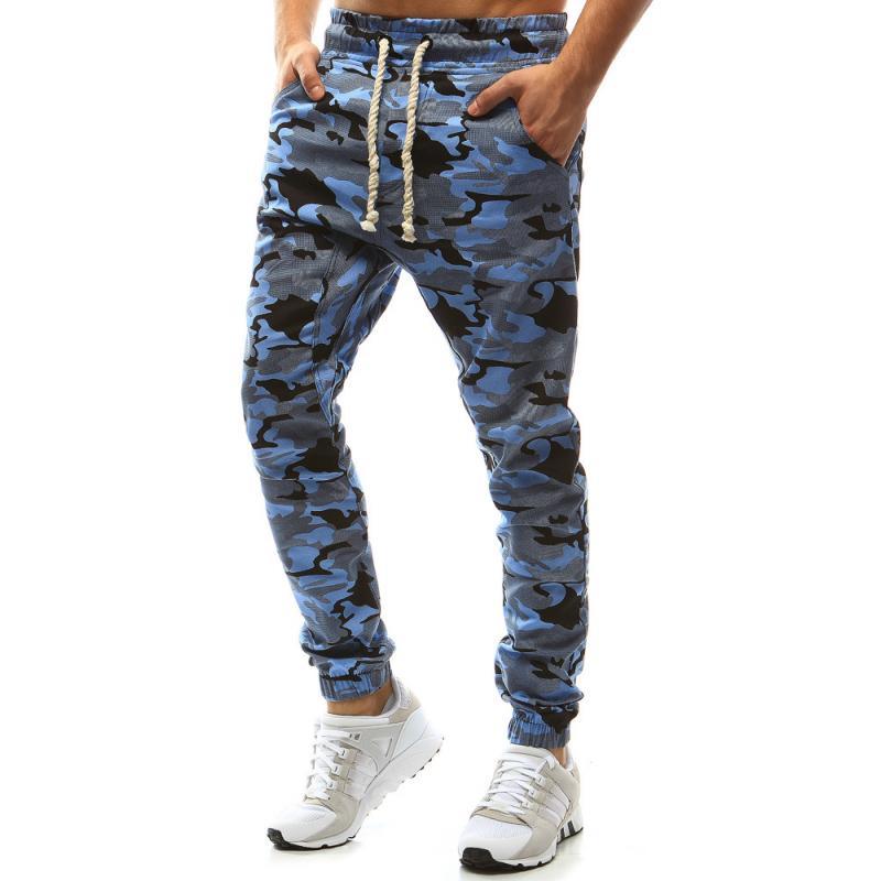 Pánské kalhoty joggery maskáčové modrá  d600b8a7f8