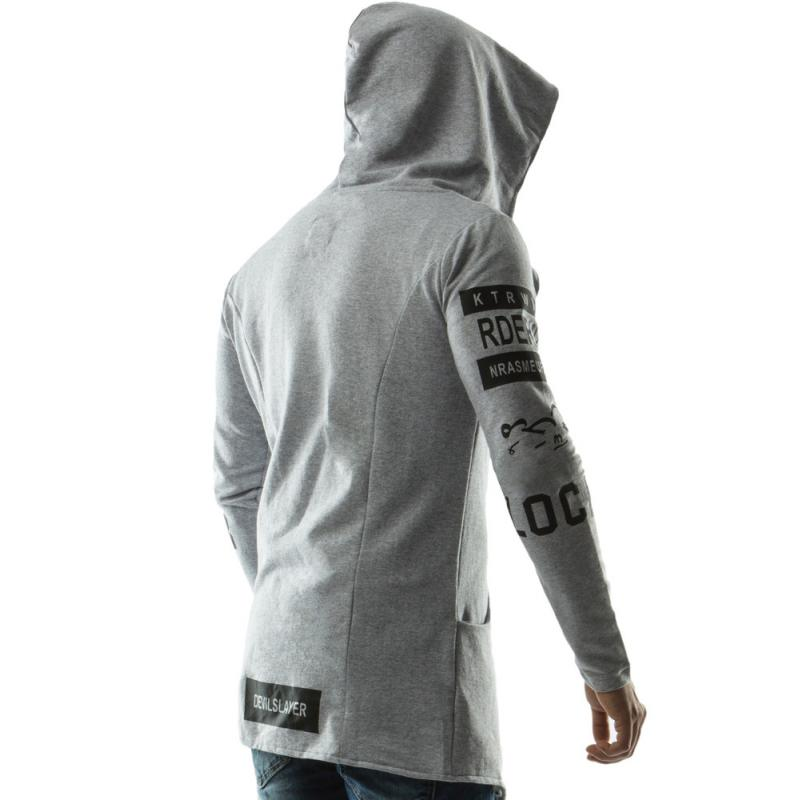 Pánská stylová dlouhá mikina s kapucí šedá  a028c83f60