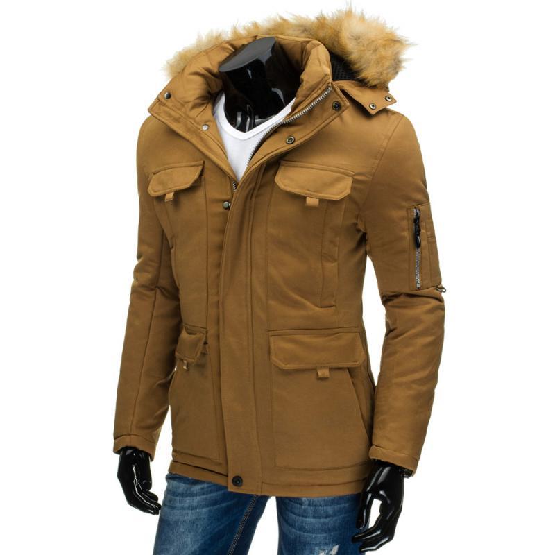 Pánská stylová zimní bunda karamelová  b0fe81f6c13
