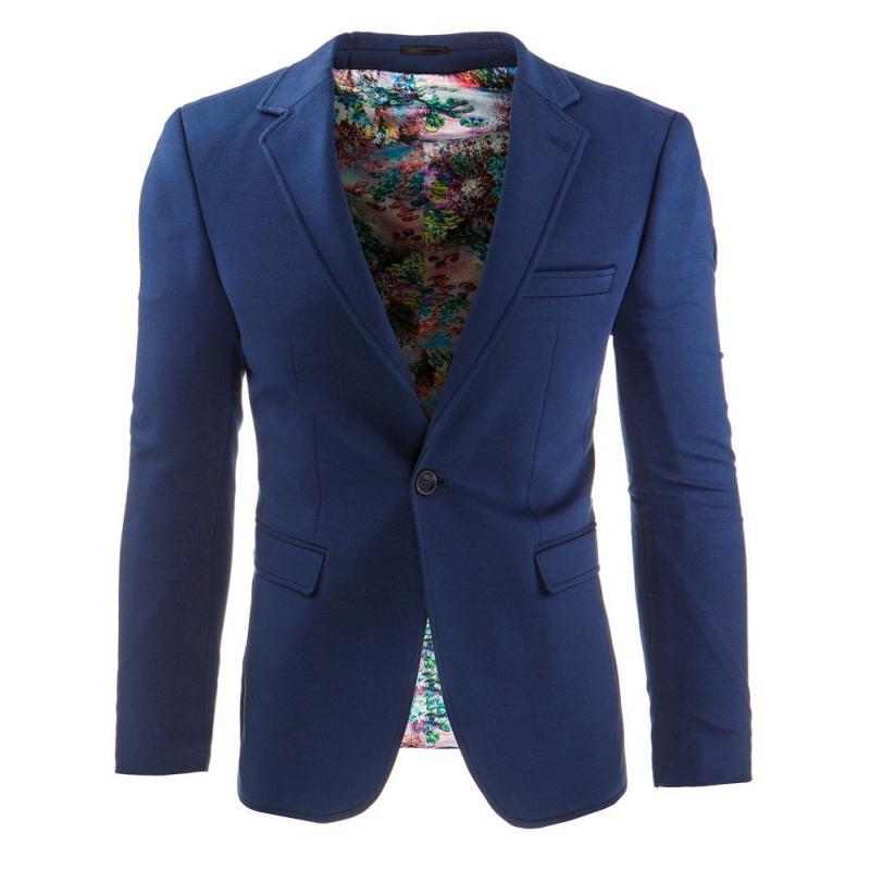 2212a80db Stylové pánské sako s moderním střihem tmavě modré / květované ...