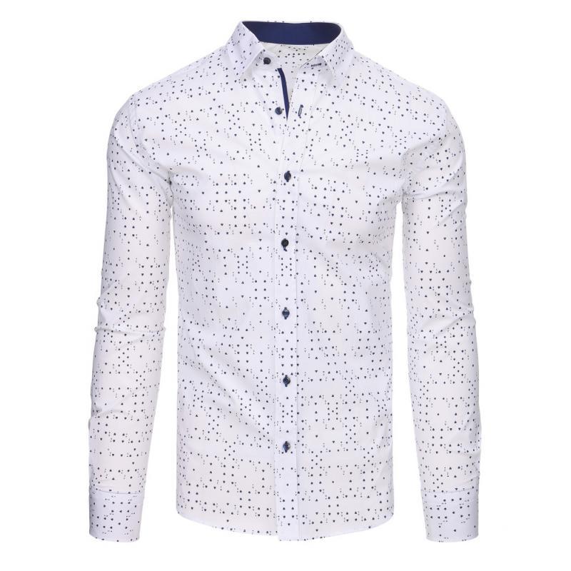 dafcdae9cc2 Bílá pánská košile s vzorem a dlouhým rukávem