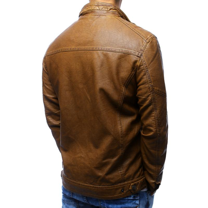 Pánská bunda koženka hnědá  51272f8e001