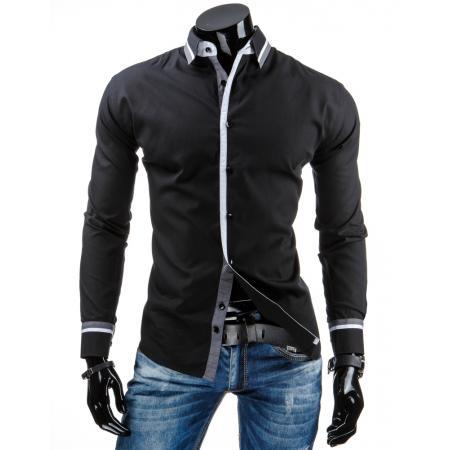 Pánská stylová košile černá s dlouhým rukávem