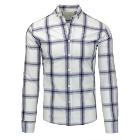 Bílo-fialová pánská košile kostkovaná