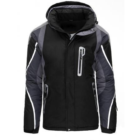 Pánská bunda zimní lyžařská s kapucí černá