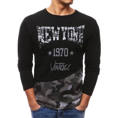 170fc44aafa Pánské černé tričko s dlouhým rukávem