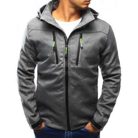 Pánská bunda přechodová s kapucí šedá