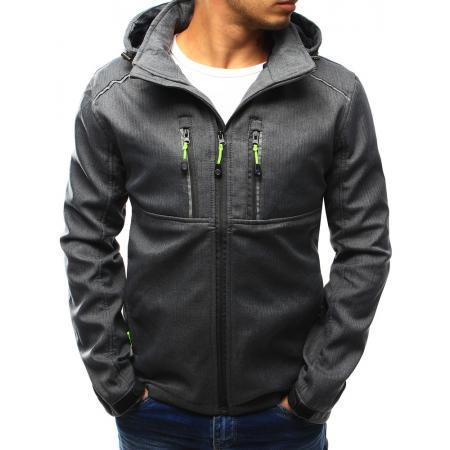 Pánská bunda přechodová s kapucí antracitová