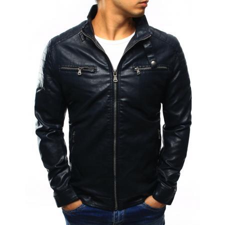 Pánská kožená bunda tmavě modrá