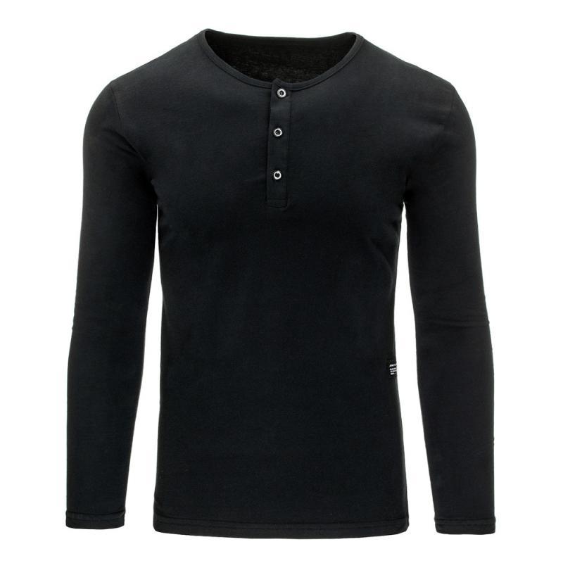 Pánské tričko s dlouhým rukávem bez potisku černé  9a631dba64