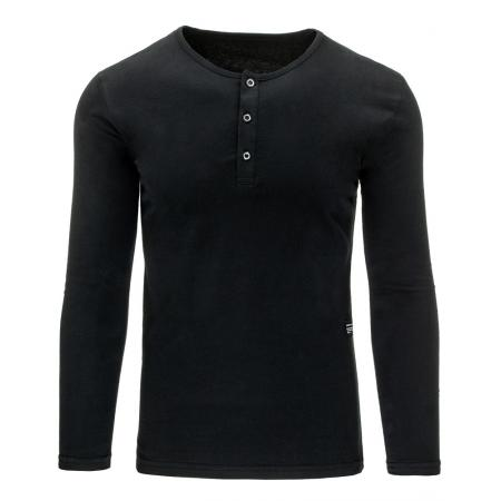 Pánské tričko s dlouhým rukávem bez potisku černé