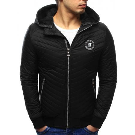 Pánská stylová prošívaná bunda s kapucí černá