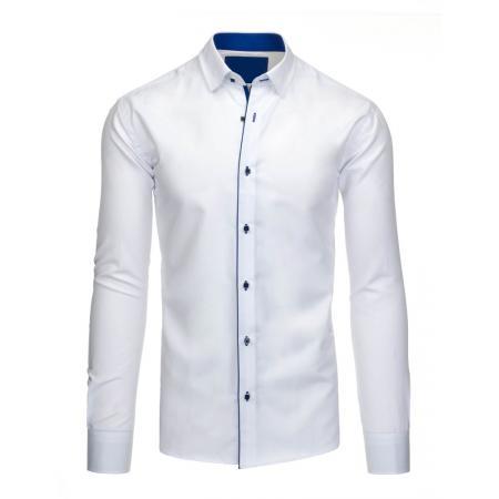 Pánská společenská košile v bílé barvě s kontrasními knoflíčky a vnitřním  límcem ebcc2a7b7d