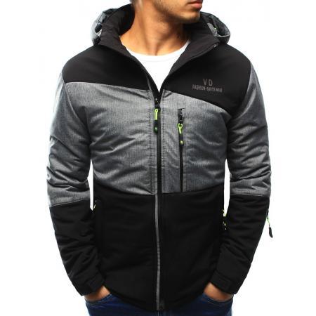 Pánská bunda přechodová s kapucí černá