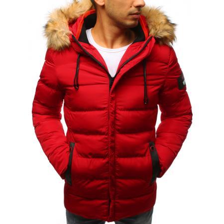 Pánská zimní bunda prošívaná červená