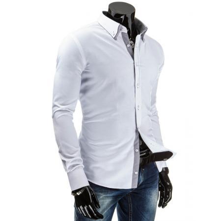Stylová pánská košile s dlouhým rukávem bílá