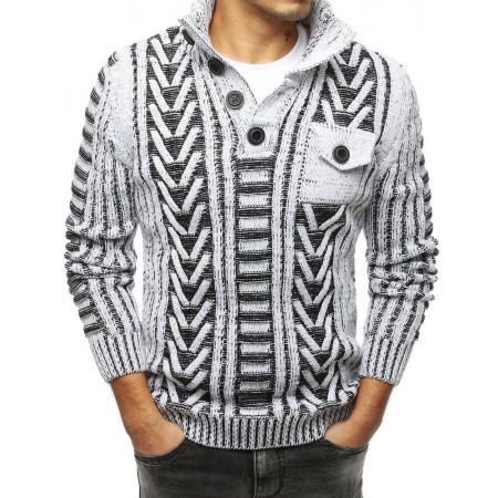 Pánský MODERN svetr se stojatým límcembílý