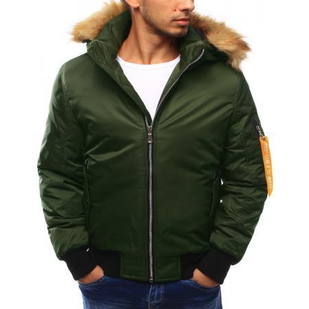 Pánská bunda zimní s kapucí zelená