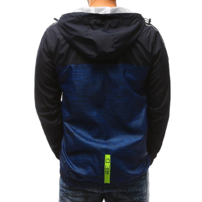 Pánské lehká jarní bunda s kapucí modrá  076ee72ef8