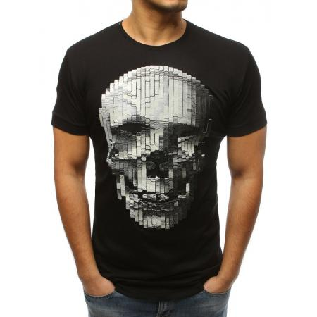 Pánské stylové tričko s lebkou černé ccf517eb54
