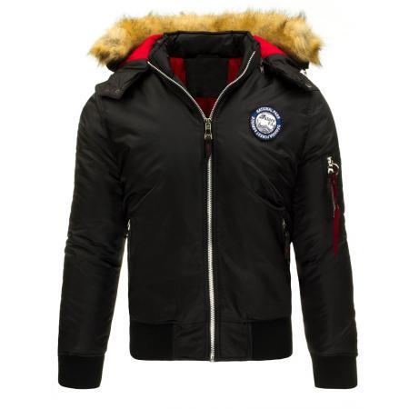 Pánská bunda typu pilotka s kapucí černá