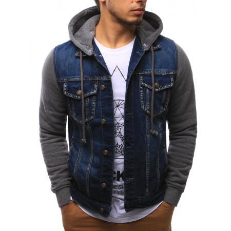 Pánská moderní bunda jeansová modrá