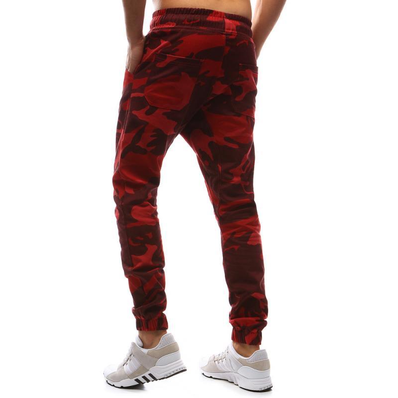 Pánské kalhoty joggery maskáčové červená  faac90078f
