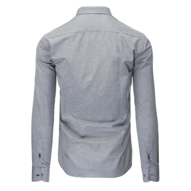 1648f2b674d1 Černo-bílá pánská košile mřížkovaný vzor s dlouhým rukávem slim fit ...