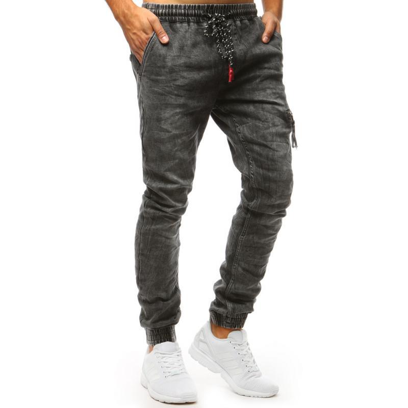 Pánské STYLE džínové joggery šedé  da898232b0