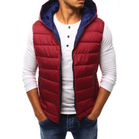 Pánská vesta prošívaná s kapucí červená