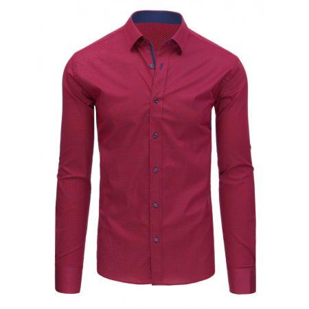 Červená vzorovaná pánská košile s dlouhým rukávem