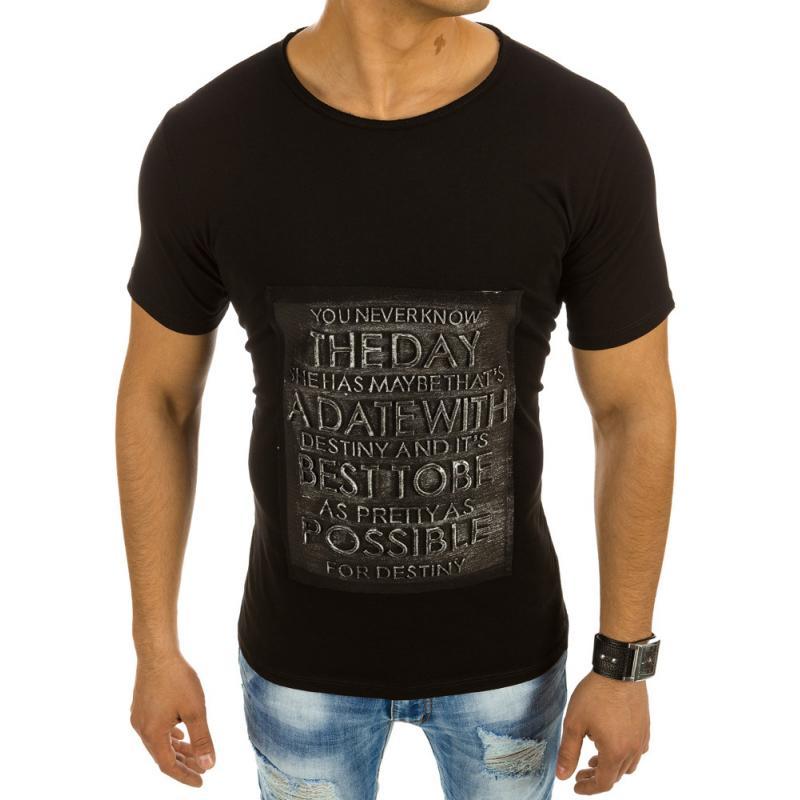 16cd1845d0ca Pánské stylové tričko s nápisem černé