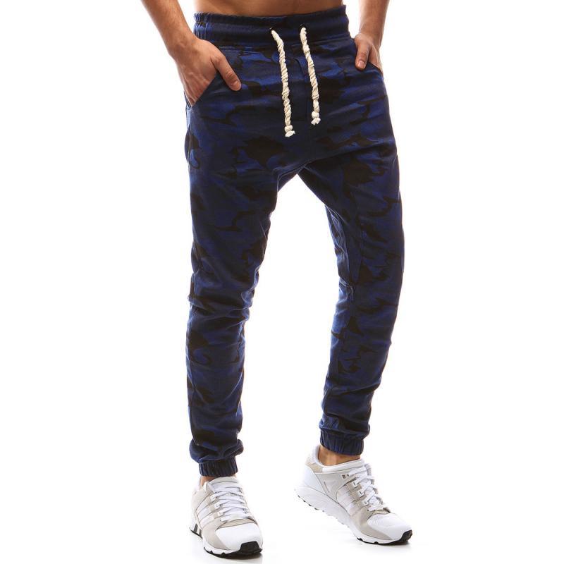 Pánské kalhoty joggery maskáčové tmavě modrá  cdf28d6fa7