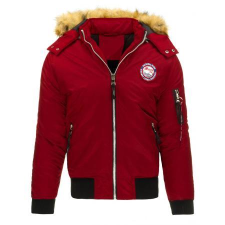 Pánská bunda typu pilotka s kapucí červená