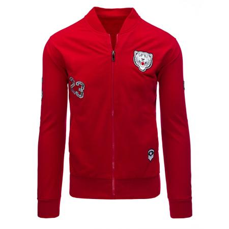 Pánská moderní mikina se zipem červená
