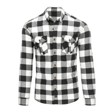 Černo-bílá pánská košile flanelová kostkovaná