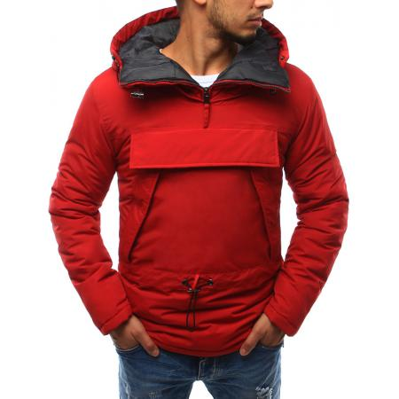 Pánská bunda větrovka s kapucí červená
