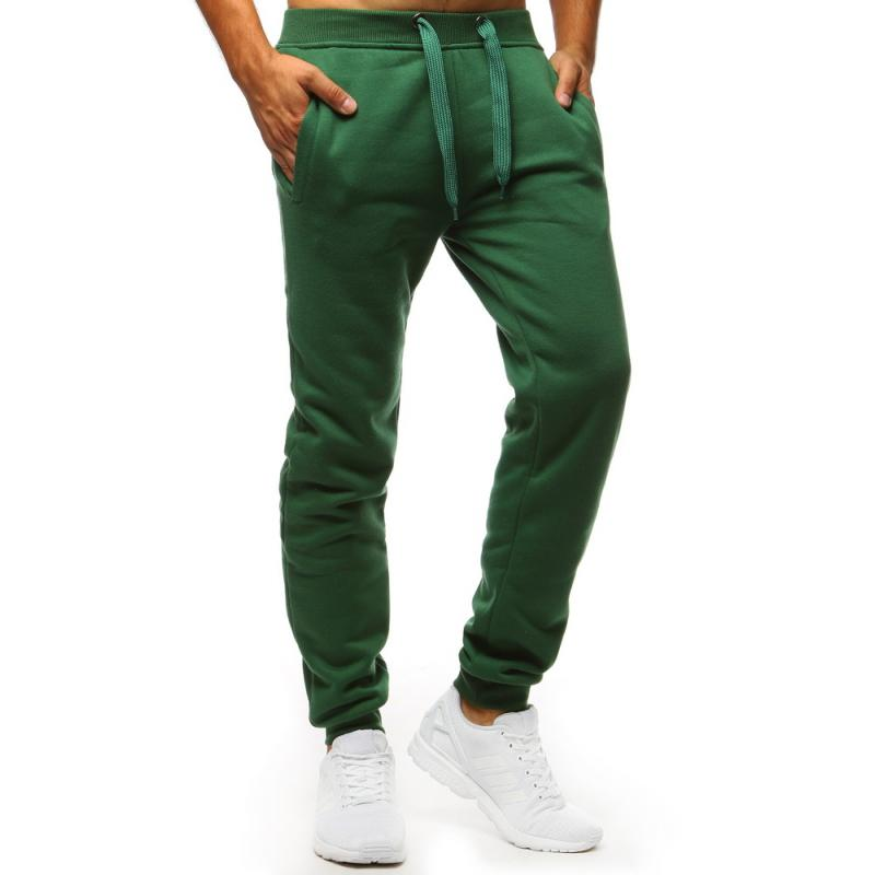 Pánské kalhoty STYLE tepláky zelené bez potisku  19164c780f