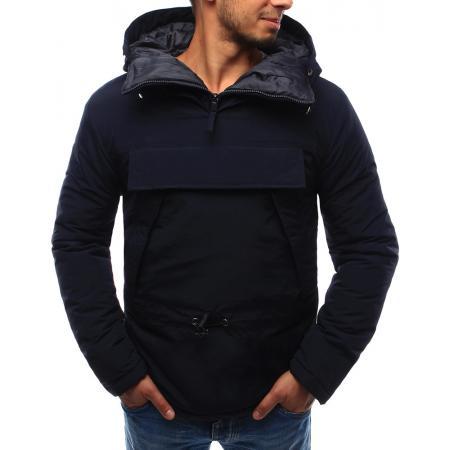 Pánská bunda větrovka s kapucí tmavě modrá