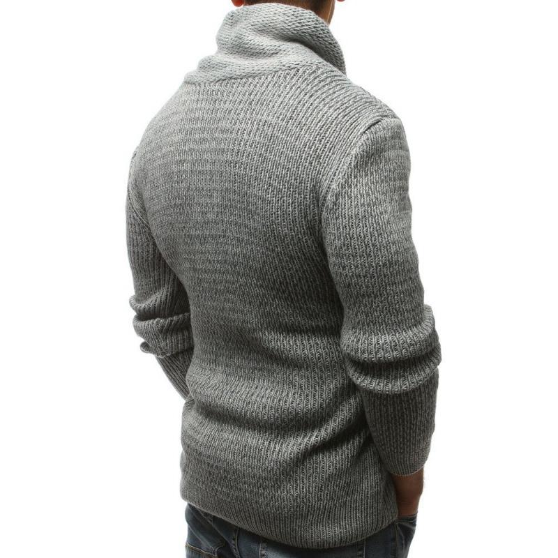 Pánský svetr šedý s knoflíky a zipem STYLE  56fed172a0