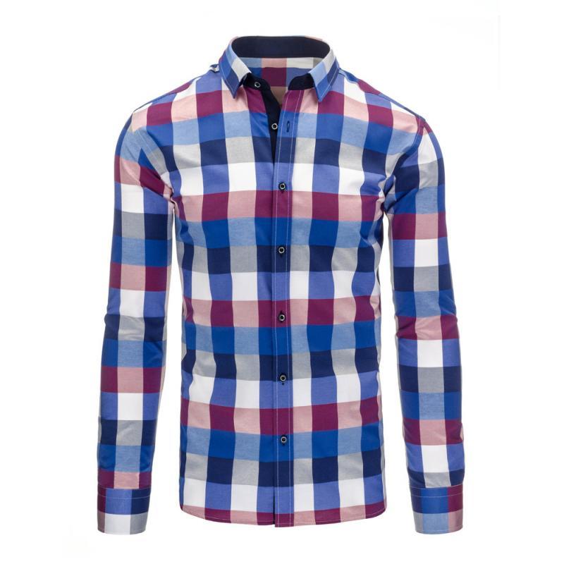 Modro-fialová pánská košile kostkovaná  899e554d36